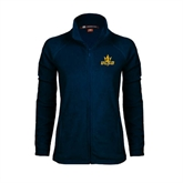 Ladies Fleece Full Zip Navy Jacket-UCSD w/Trident
