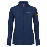Ladies Fleece Full Zip Navy Jacket-UC San Diego Wordmark