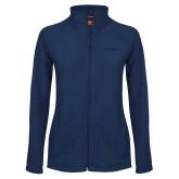Ladies Fleece Full Zip Navy Jacket-UC San Diego Primary Mark