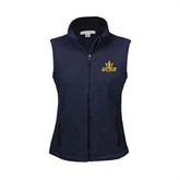 Ladies Fleece Full Zip Navy Vest-UCSD w/Trident