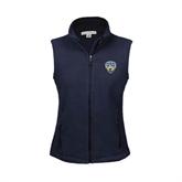 Ladies Fleece Full Zip Navy Vest-UC San Diego Crest