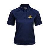 Ladies Navy Textured Saddle Shoulder Polo-UCSD w/Trident