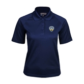 Ladies Navy Textured Saddle Shoulder Polo-UC San Diego Crest