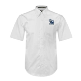 White Twill Button Down Short Sleeve-Official Logo
