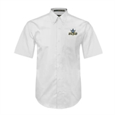 White Twill Button Down Short Sleeve-UCSD w/Trident