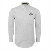 White Twill Button Down Long Sleeve-UCSD w/Trident