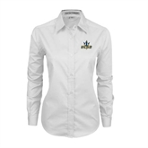 Ladies White Twill Button Down Long Sleeve-UCSD w/Trident