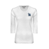 Ladies White 3/4 Sleeve Scoop Neck-Official Logo