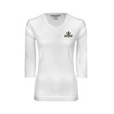 Ladies White 3/4 Sleeve Scoop Neck-UCSD w/Trident