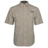 Khaki Short Sleeve Performance Fishing Shirt-UC San Diego Primary Mark