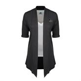 Ladies Grey Drape Front Cardigan-UCSD w/Trident