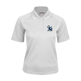 Ladies White Textured Saddle Shoulder Polo-Official Logo