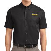 Black Twill Button Down Short Sleeve-UC San Diego Tritons Mark