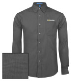 Mens Dark Charcoal Crosshatch Poplin Long Sleeve Shirt-UC San Diego Primary Mark
