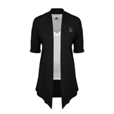 Ladies Black Drape Front Cardigan-Official Logo