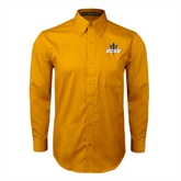 Gold Twill Button Down Long Sleeve-UCSD w/Trident