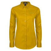 Ladies Gold Twill Button Down Long Sleeve-Tritons Wordmark