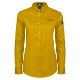 Ladies Gold Twill Button Down Long Sleeve-UC San Diego Wordmark