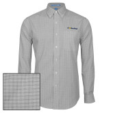 Mens Charcoal Plaid Pattern Long Sleeve Shirt-UC San Diego Primary Mark