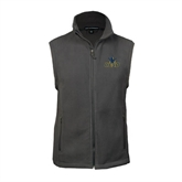Fleece Full Zip Charcoal Vest-UCSD w/Trident