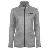 Grey Heather Ladies Fleece Jacket-UC San Diego Primary Mark