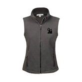 Ladies Fleece Full Zip Charcoal Vest-Official Logo