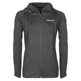 Ladies Sport Wick Stretch Full Zip Charcoal Jacket-UC San Diego Primary Mark