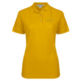 Ladies Easycare Gold Pique Polo-Tritons Wordmark