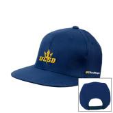 Navy Flat Bill Snapback Hat-UCSD w/Trident