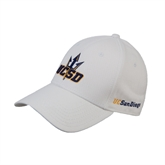 White Heavyweight Twill Pro Style Hat-UCSD w/Trident