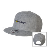 Heather Grey Wool Blend Flat Bill Snapback Hat-UC San Diego Primary Mark