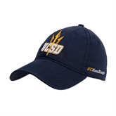 Navy Twill Unstructured Low Profile Hat-UCSD w/Trident