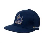 Navy OttoFlex Flat Bill Pro Style Hat-Official Logo