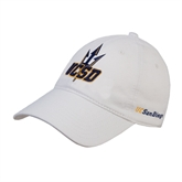 White Twill Unstructured Low Profile Hat-UCSD w/Trident