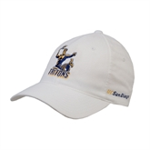 White OttoFlex Unstructured Low Profile Hat-Official Logo