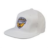 White OttoFlex Flat Bill Pro Style Hat-UC San Diego Crest
