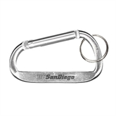 Silver Carabiner with Split Ring-UC San Diego Engraved