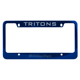 Metal Blue License Plate Frame-UC San Diego Primary Mark Engraved