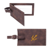 Sorano Brown Luggage Tag-Trident Head Engraved