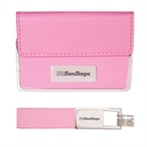 Business Card Case and Key Ring Set Pink-UC San Diego Engraved
