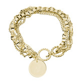 Olivia Sorelle Gold Round Pendant Multi strand Bracelet-Trident Head Engraved