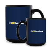 Full Color Black Mug 15oz-UC San Diego Primary Mark