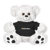 Plush Big Paw 8 1/2 inch White Bear w/Black Shirt-UC San Diego Primary Mark