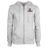 ENZA Ladies White Fleece Full Zip Hoodie-UHV Logo