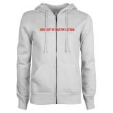 ENZA Ladies White Fleece Full Zip Hoodie-University of Houston Victoria