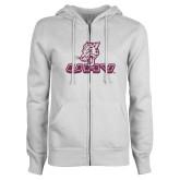 ENZA Ladies White Fleece Full Zip Hoodie-UHV Logo Glitter Pink Glitter