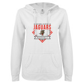 ENZA Ladies White V Notch Raw Edge Fleece Hoodie-Jaguars Baseball