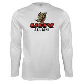 Performance White Longsleeve Shirt-UHV Alumni