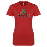 Next Level Ladies SoftStyle Junior Fitted Red Tee-UHV Logo