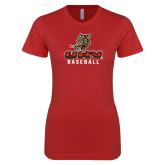 Next Level Ladies SoftStyle Junior Fitted Red Tee-UHV Baseball